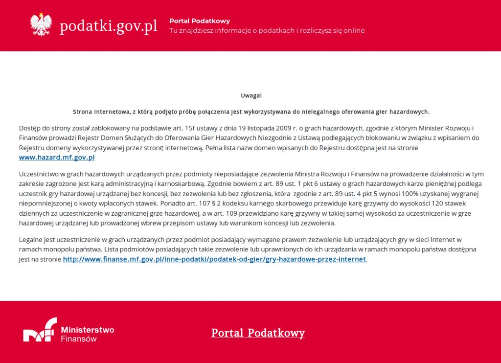 Komunikat Strona internetowa, z którą podjęto próbę połączenia jest wykorzystywana do nielegalnego oferowania gier hazardowych.